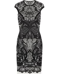 Alexander McQueen Wool blend Intarsia Dress black - Lyst