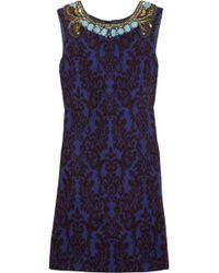 Matthew Williamson Embellished Jacquard Dress blue - Lyst