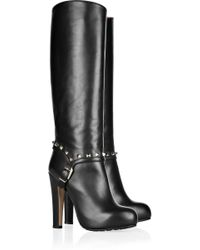Valentino Studded Leather Knee Boots - Lyst