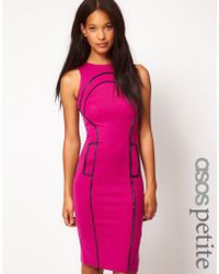 ASOS Collection Asos Petite Exclusive Pencil Dress with Seam Detail and Cut Out Back - Lyst