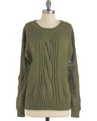 ModCloth All in Olive Sweater - Lyst