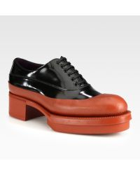 Prada Patent Leather Leather Laceup Platform Loafers - Lyst