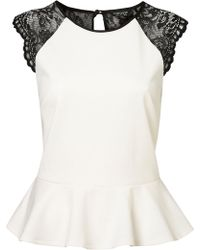Topshop Lace Back Peplum Top white - Lyst