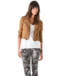 Free People Linen Moto Jacket - Lyst