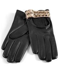 Valentino Black Studded Driving Gloves - Lyst