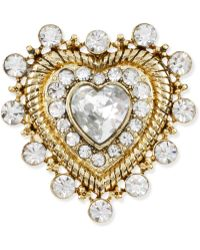 Betsey Johnson Gold Tone Crystal Heart Stretch Ring - Lyst