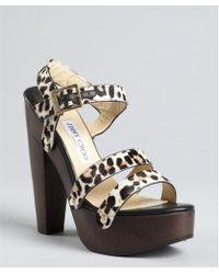 Jimmy Choo Leopard Print Pony Hair Corliss Platform Sandals - Lyst