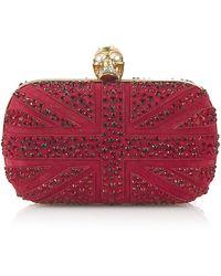 Alexander McQueen Crystal Britannia Skull Box Clutch - Lyst