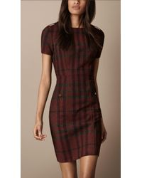 Burberry Brit - Fitted Check Dress - Lyst