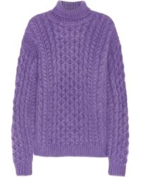 Christopher Kane Cableknit Mohairblend Turtleneck Sweater - Lyst