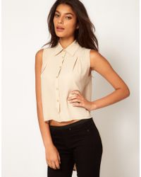 TFNC Sleeveless Drape Open Back Shirt beige - Lyst