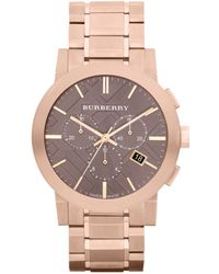 Burberry Womens Swiss Chronograph Rose Gold Ion Plated Stainless Steel Bracelet 42mm pink - Lyst