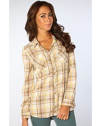 Free People The Park Ranger Plaid Button Up Top in Ivory Multi - Lyst