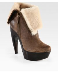 Alice + Olivia Leather and Shearling Foldover Ankle Boots - Lyst