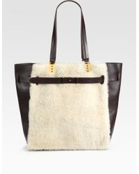 Christian Louboutin Sybil Large Shearling Leather Tote - Lyst