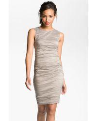 Nicole Miller Metallic Woven Sheath Dress - Lyst