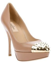 Valentino Leather Pumps beige - Lyst