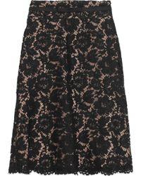 Valentino Cottonblend Lace Skirt black - Lyst