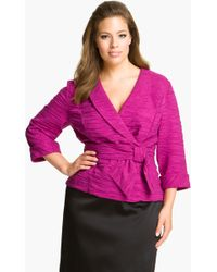 Alex Evenings Faux Wrap Crepe Blouse - Lyst