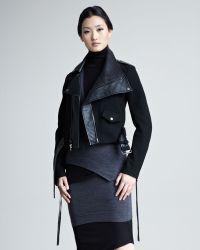 Donna Karan New York Modern Felt Leather Moto Jacket - Lyst