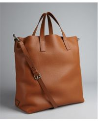 Prada Brandy Leather Large Convertible Tote - Lyst