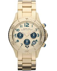 Marc By Marc Jacobs Womens Chronograph Gold Ion Plated Stainless Steel Bracelet 40mm - Lyst