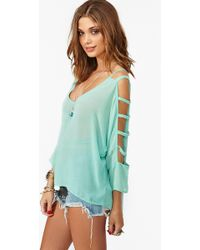 Nasty Gal Dolman Cutout Top Mint - Lyst