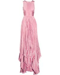 Oscar de la Renta Pleated Washedsatin Gown - Lyst