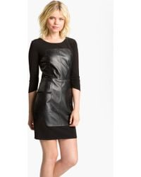 Laundry by Shelli Segal Leather Inset Dress black - Lyst