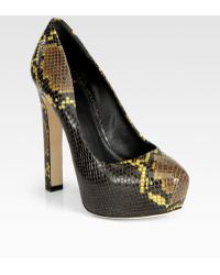 B Brian Atwood Snakeprint Leather Platform Pumps - Lyst