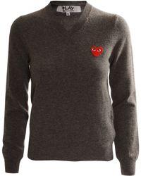 Play Comme des Garçons Play Womens Red Heart Classic Jumper Grey gray - Lyst