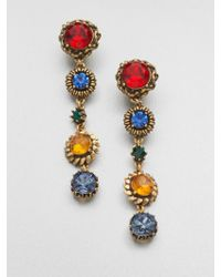 Oscar de la Renta Faceted Long Clipon Drop Earrings - Lyst