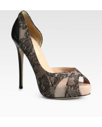 Valentino Beaded Lace and Leather Dorsay Pumps - Lyst