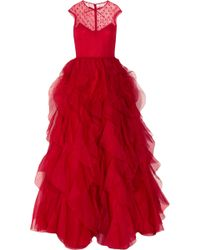 Valentino Lace and Ruffled Silkorganza Gown red - Lyst