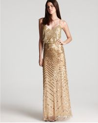 Adrianna Papell Beaded Gown Sleeveless V Neck Blouson - Lyst