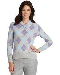 Brooks Brothers Lambs Wool Argyle Shawl Sweater - Lyst