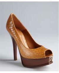 Fendi Brown Snake Embossed Leather Fendista Peep Toe Platform Pumps - Lyst