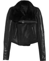 Rick Owens Shearling Leather Biker Jacket - Lyst