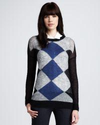 Theory Argyle Sweater - Lyst