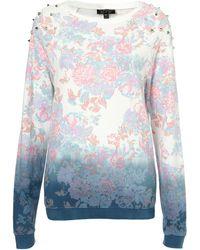 Topshop Floral Dip Dye Sweat - Lyst