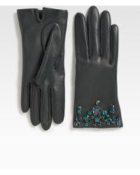 Prada Swarovski Crystal Leather Glovesblack - Lyst