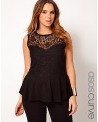 Asos Curve Top with Lace Bodice Peplum - Lyst