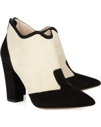 Nicholas Kirkwood Rabbit lined Feather and Suede Boots black - Lyst