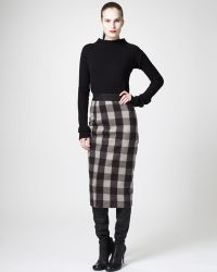 Rick Owens Plaid Pencil Skirt black - Lyst