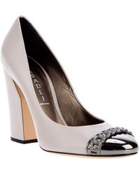 Casadei Chain Detail Pump white - Lyst