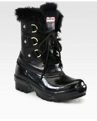 Hunter Cathie Wool Rabbit Fur Boots - Lyst