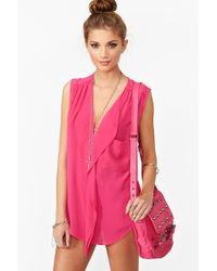 Nasty Gal Ruffled Pocket Blouse Magenta - Lyst