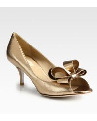 Valentino Couture Metallic Leather Bow Pumps - Lyst