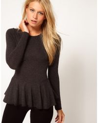 ASOS Collection Asos Peplum Top in Textured Wool gray - Lyst