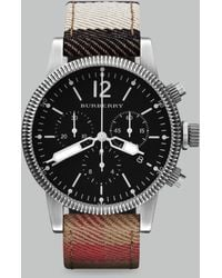 Burberry Check Strap Chronograph Watch brown - Lyst